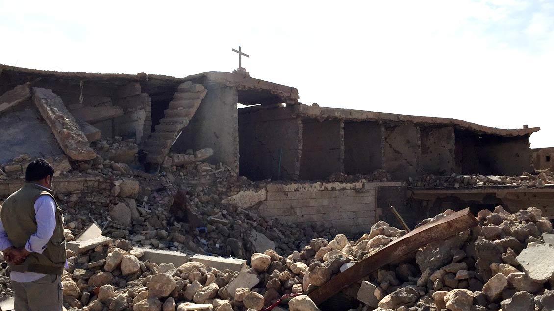 Zerstörte Kirche in Shingal-Stadt.