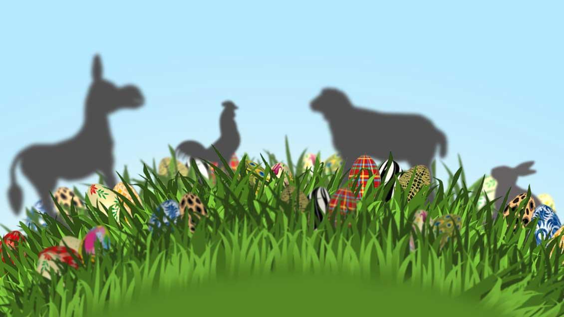 Esel, Hahn, Lamm und Hase.