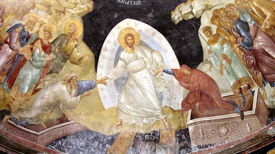 Jesus Christus reißt Adam und Eva aus dem Reich des Todes. Fresko aus dem 14. Jahrhundert in der einstigen Chora-Kirche (heute Kariye-Museum), Istanbul.