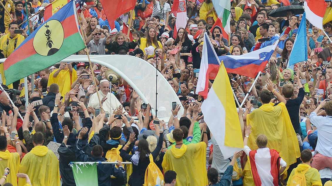 Papst Franziskus, hier bei seiner Ankunft beim Weltjugendtag 2016 in Krakau.
