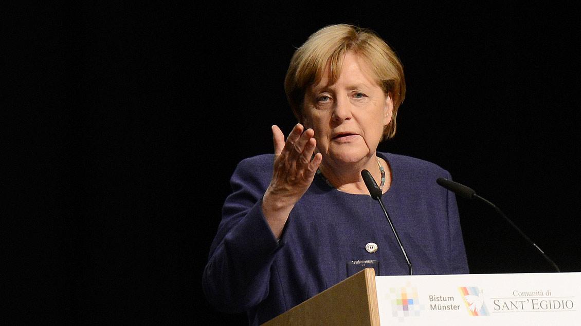 Bundeskanzlerin Angela Merkel, hier beim Weltfriedenstreffen der Gemeinschaft Sant'Egidio im September 2017 in Münster.