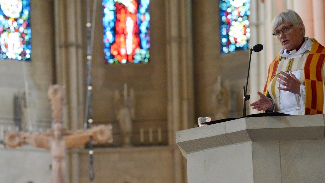 Antje Jackelén, Erzbischöfin der Schwedischen Kirche, hielt die Predigt auf der Kanzel des Münsteraner Doms. | Foto: Michael Bönte