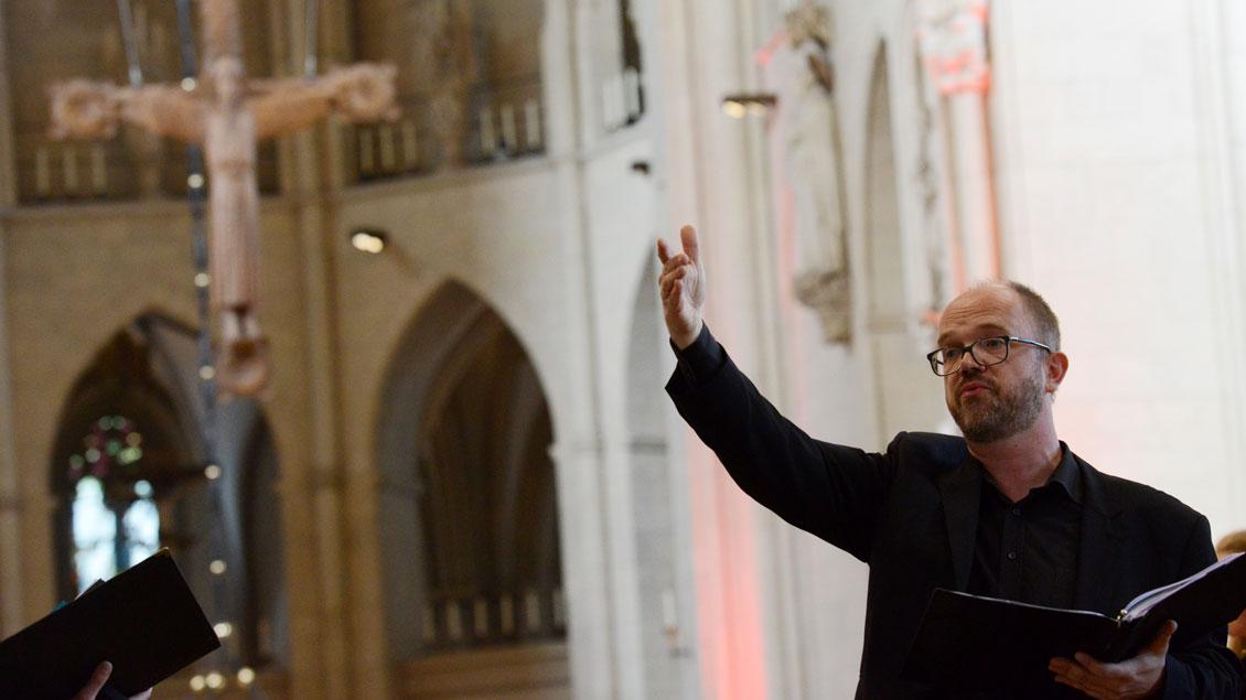 Viel Musik gehörte zum zentralen ökumenischen Gottesdienst des Katholikentags im Münsteraner Dom. | Foto: Michael Bönte