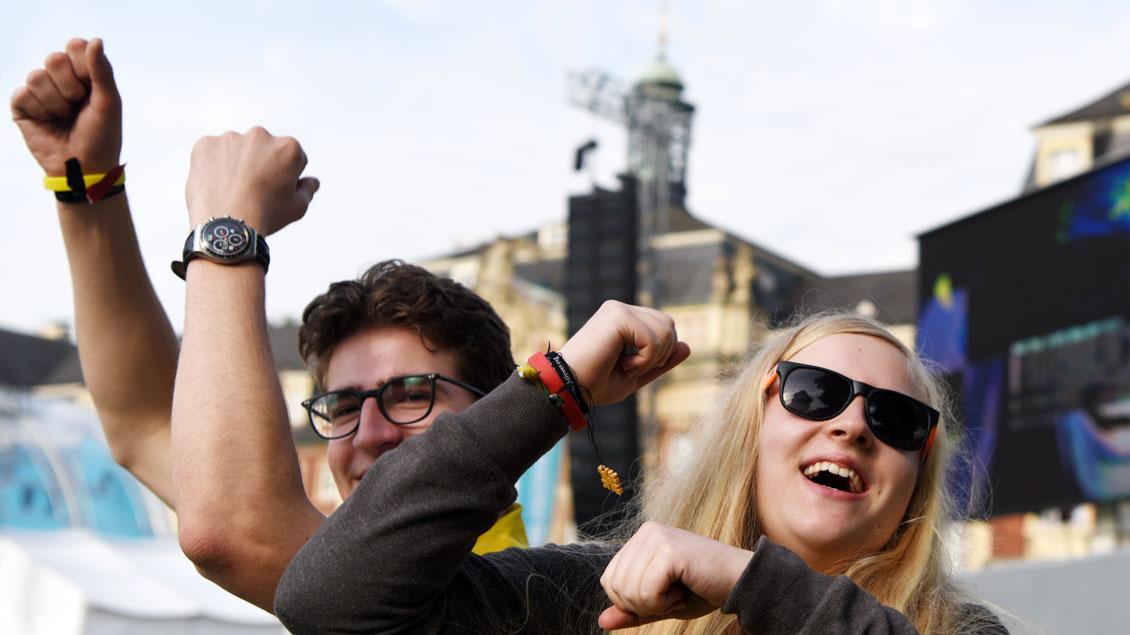 Fröhliche Stimmung zum Abschluss des Katholikentages in Münster. | Foto: Michael Bönte