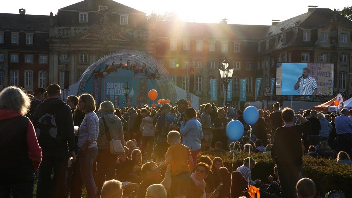 Am letztend Abend des Katholikentags in Münster wird noch einmal richtig gefeiert.