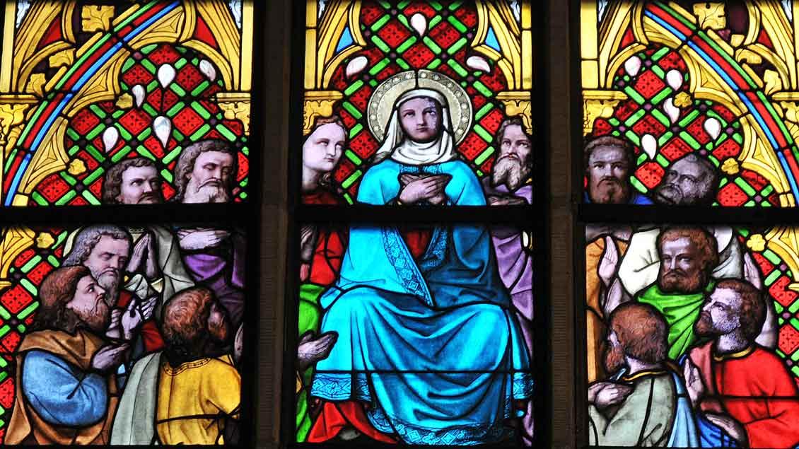 Maria und die Jünger: Pfingstdarstellung in der Kirche von Nottuln-Darup (19. Jahrhundert).