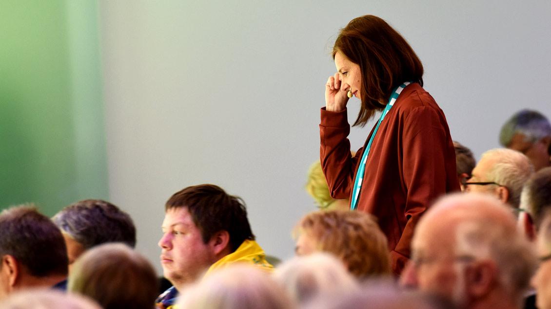 Die Grünen-Politikerin Katrin Göring-Eckardt bei ihrem Bibel-Impuls während des Katholikentags in Münster. Die Vorsitzende der Bundestagsfraktion ihrer Partei ist zudem engagierte Protestantin.