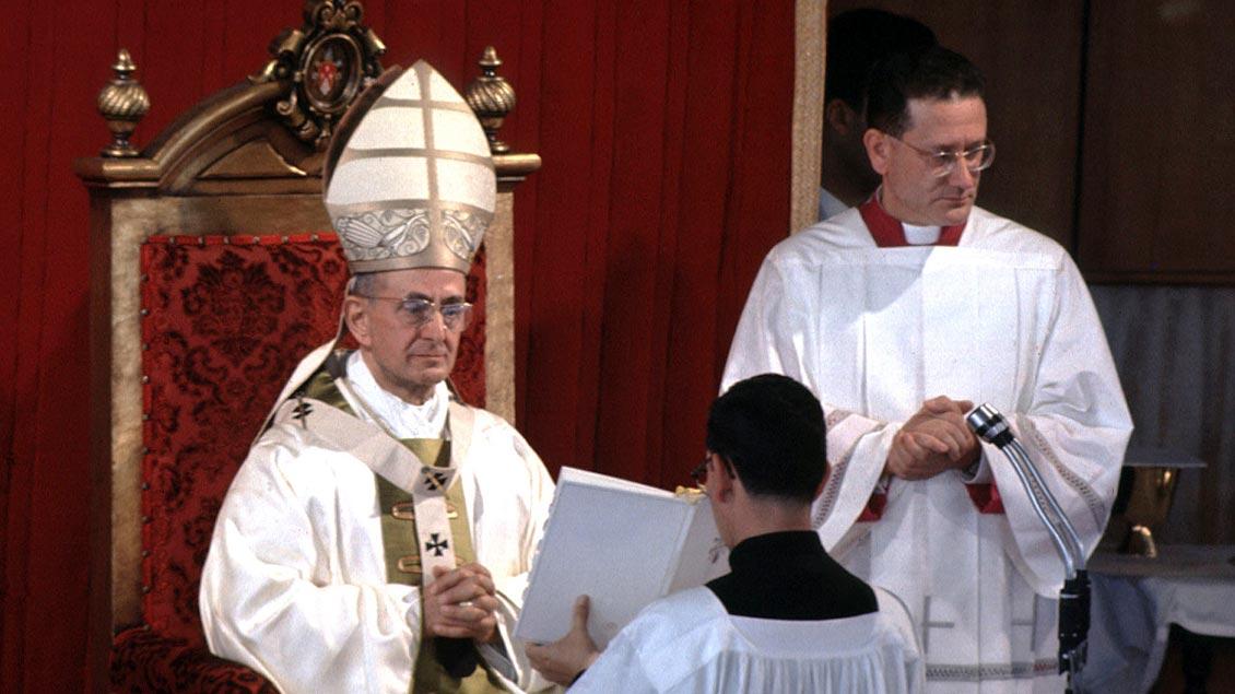 Paul VI., hier während des Zweiten Vatikanischen Konzils, hatte Bedingungen für seinen Rücktritt festgelegt. Foto: KNA