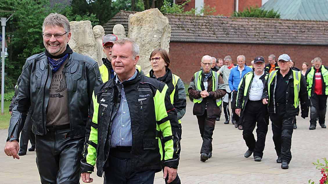 Nach dem Gottesdienst kehrten die Motorradfahrer im Haus Maria ein.
