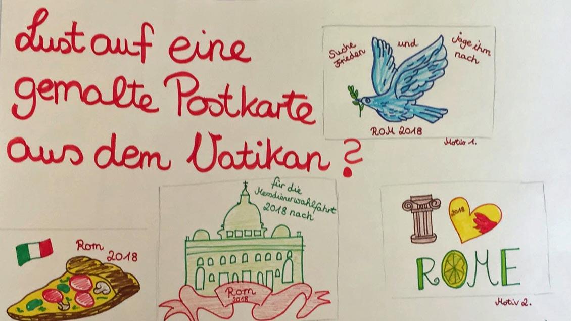 Mit der Postkarte sammelt der Jugendrat St. Christophorus, Werne, Geld für die Messdienerwallfahrt nach Rom.
