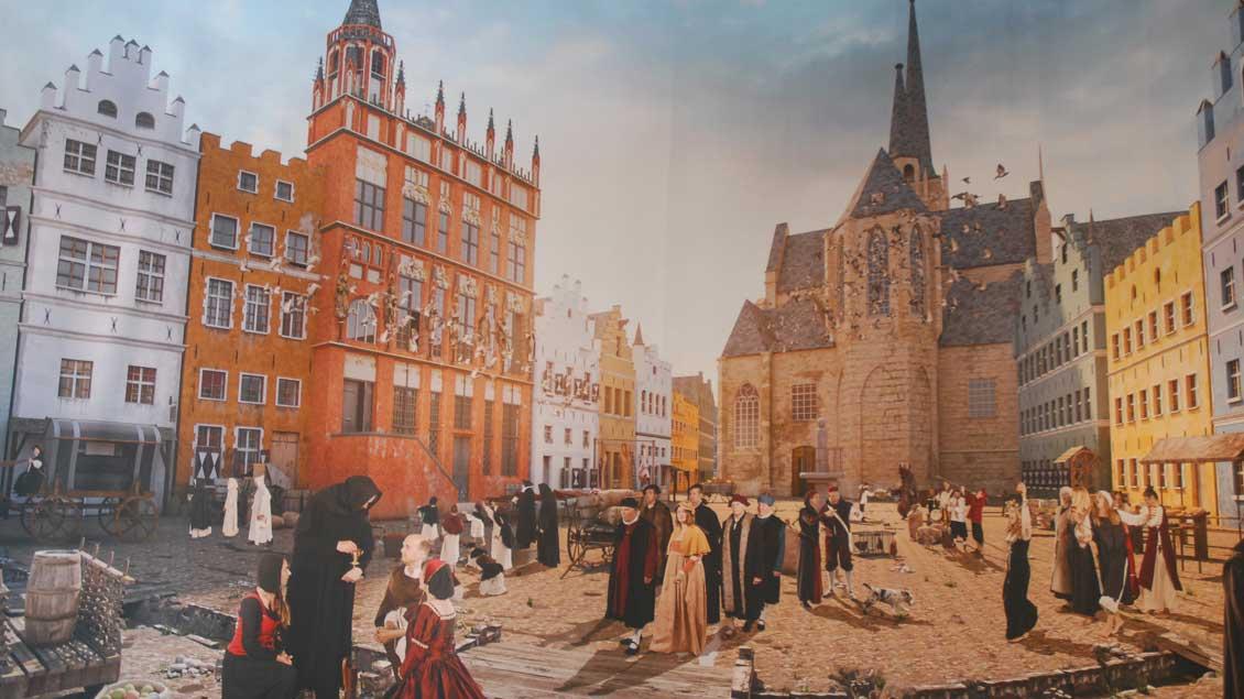 Das Panoramabild zeigt den Großen Markt in Wesel in der Zeit um 1570. Eine anschauliche Zeitreise durch das 16. Jahrhundert