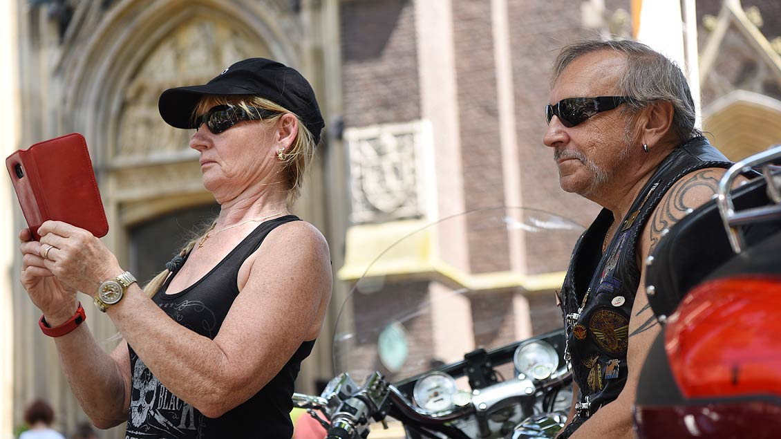 Erinnerungsfoto für den Harley-Club. | Foto: Michael Bönte