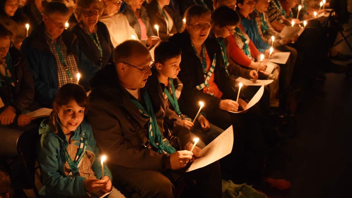 Auch beim Taizé-Gebet auf dem Katholikentag 2018 in Münster beteten viele Menschen für den Frieden.