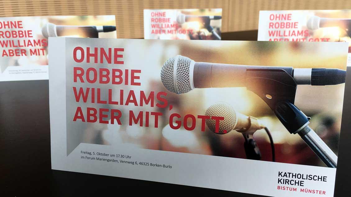 Mit Robbie Williams wirbt das Bistum Münster für die regionalen Treffen.