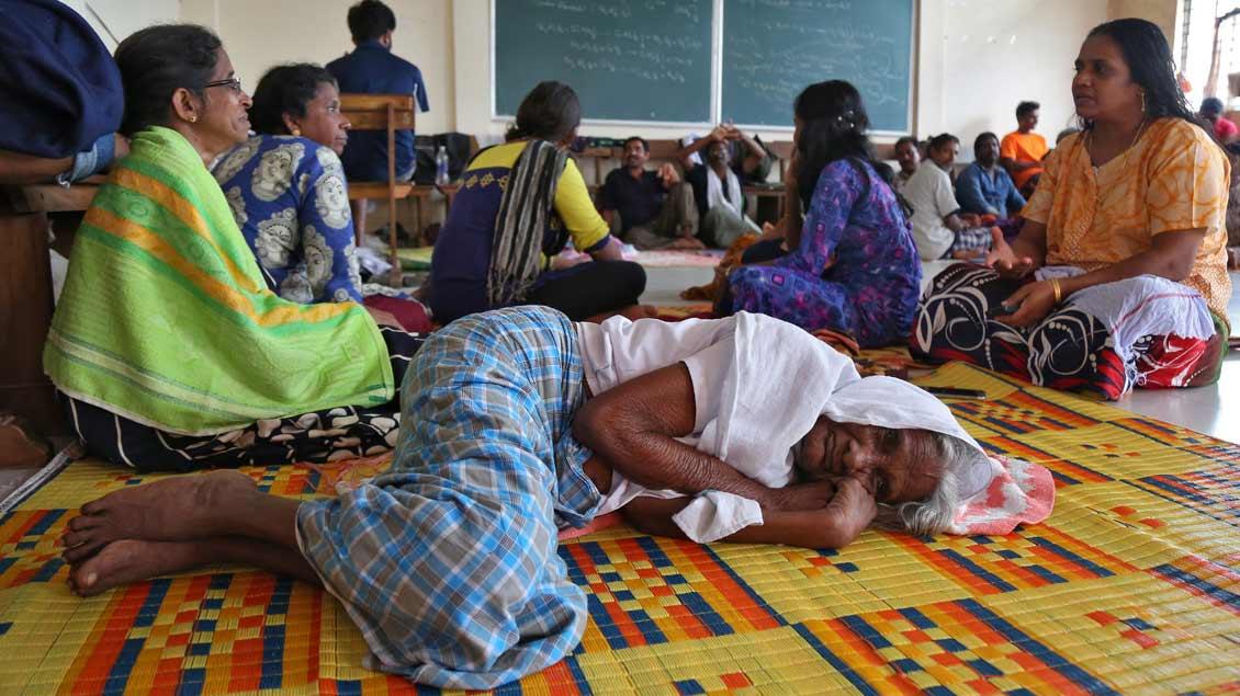 Notunterkunft in Kerala.
