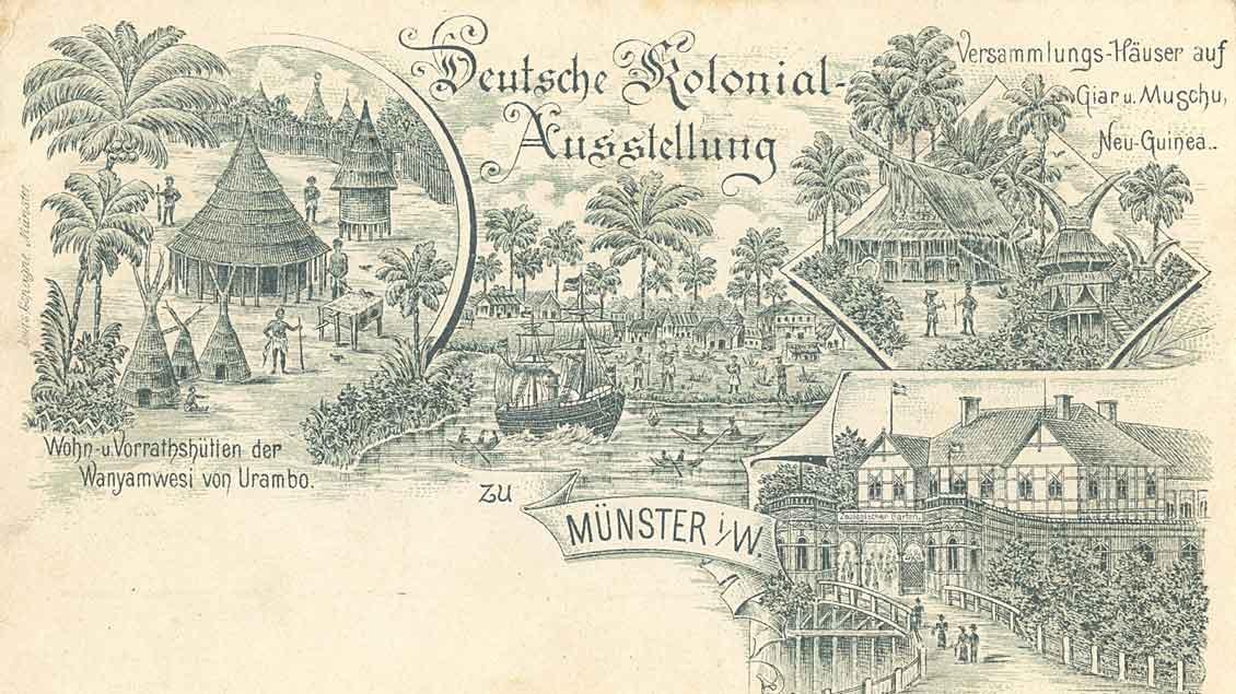 Postkarte Deutsche Kolonialausstellung. Foto: Stadtmuseum Münster