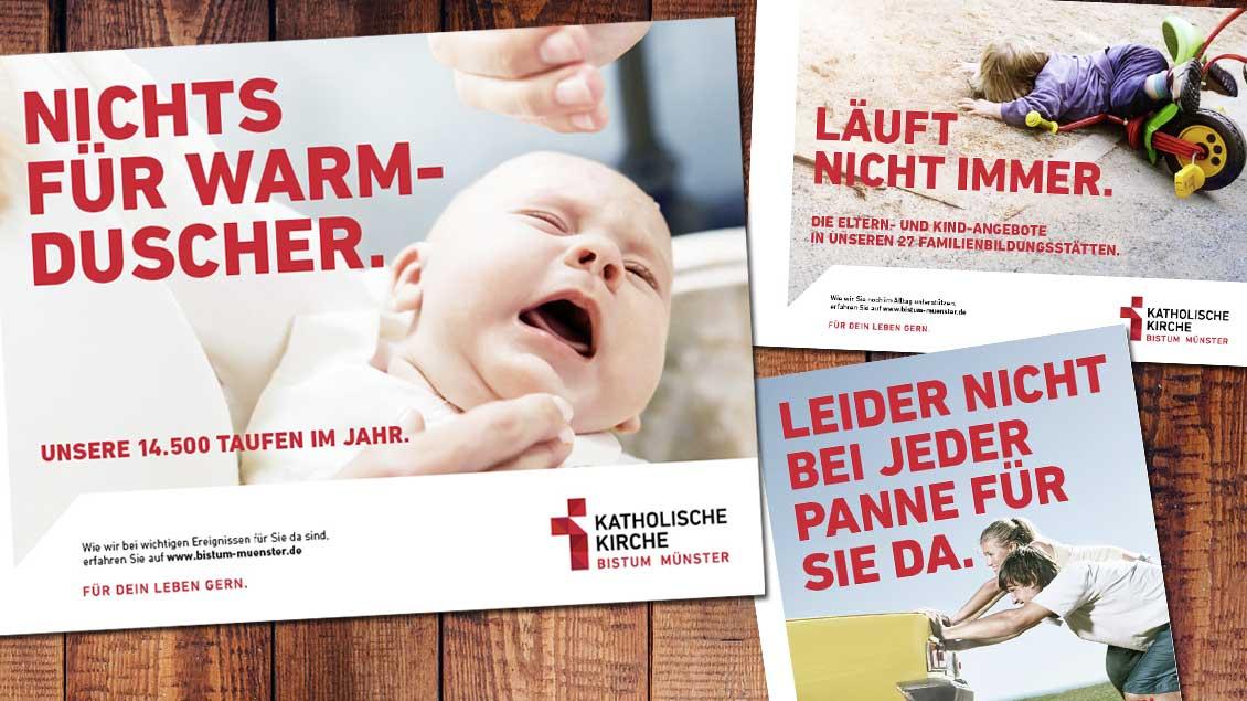 """Mit humorig gedachten Plakaten macht die neue Kampagne """"Für dein Leben gern"""" auf Angebote des Bistums Münster aufmerksam. Dazu kommt ein neues Logo: ein in Rot gehaltenes Kreuz mit der Wortmarke """"Katholische Kirche - Bistum Münster"""""""