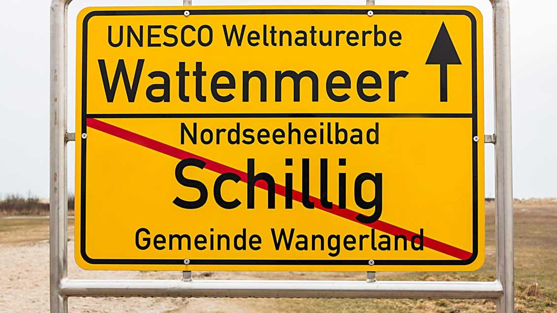 Schild am Strand von Schillig.
