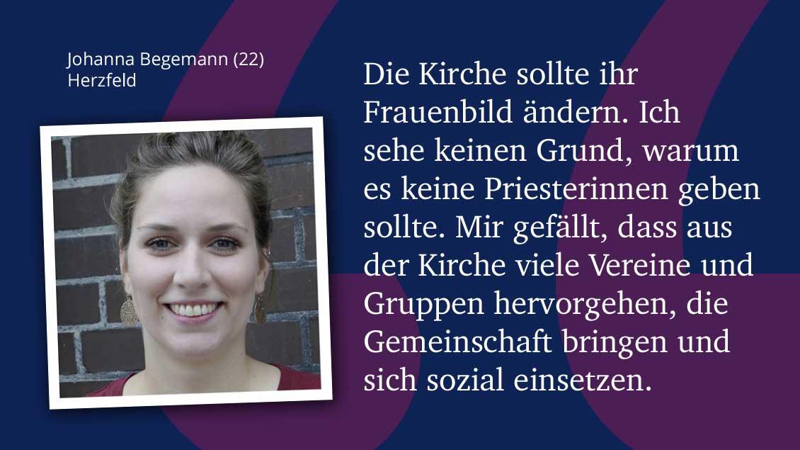 Johanna Begemann (22), Herzfeld.