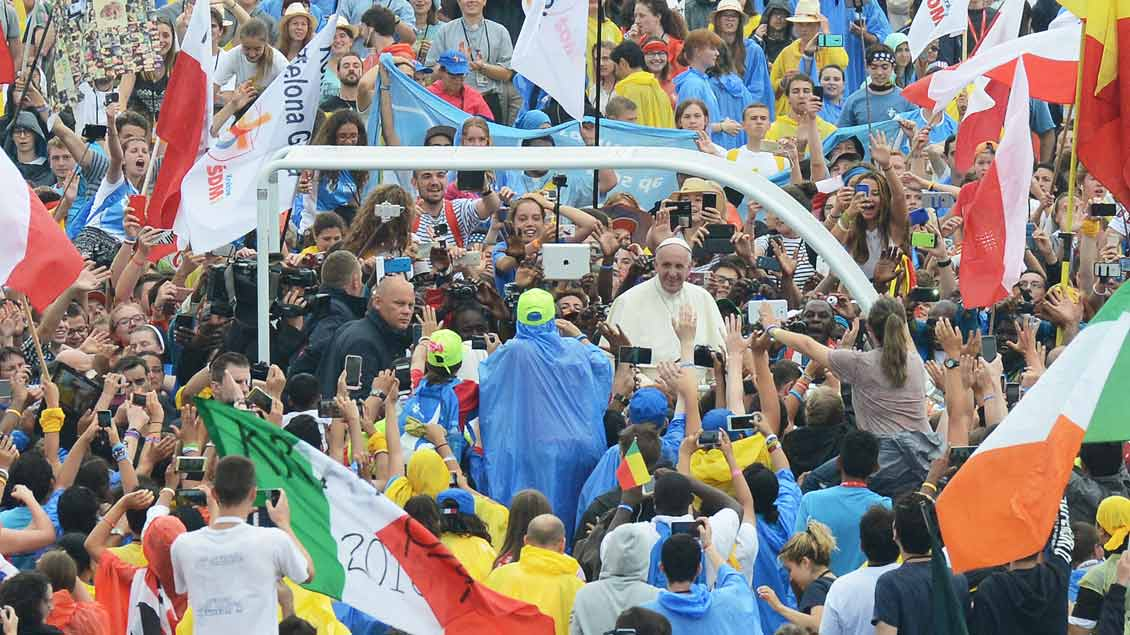 Papst Franziskus beim Weltjugendtag in Krakau.