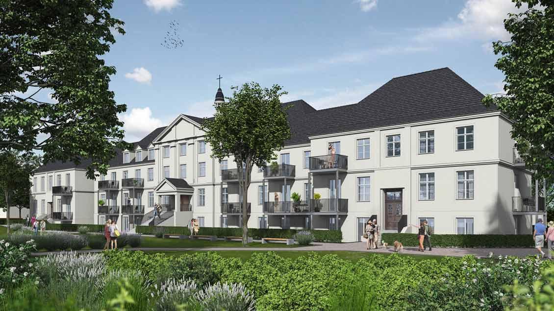 So könnte das sanierte Gudula-Kloster aussehen. Darin sollen Wohnräume, Tagespflege und eine Sozialstation entstehen.
