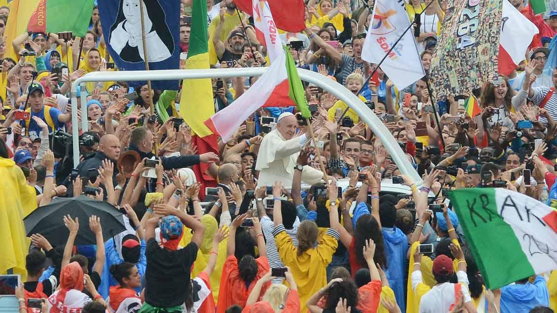 Papst Franziskus beim Weltjugendtag. Archiv-Foto: Michael Bönte