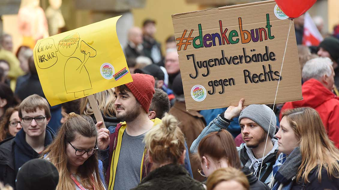 Demonstation gegen die AfD in Münster