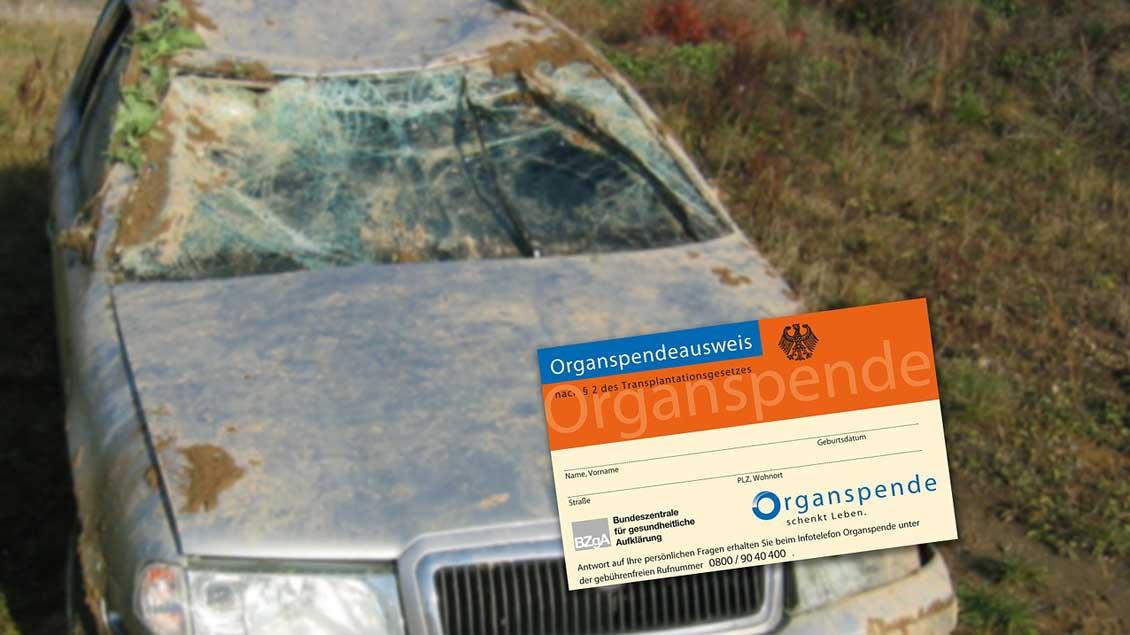 Organspendeausweis vor einem Unfallauto