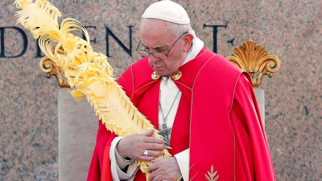Papst Franziskus hält einen großen Palmzweig in den Händen.