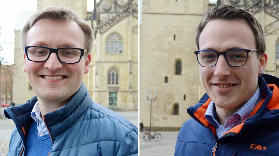 Jan Tasler und Fabian Guhr vor dem Dom in Münster