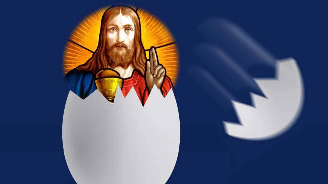 Ein Bild von Jesus kommt aus einem aufgebrochenen Ei heraus.