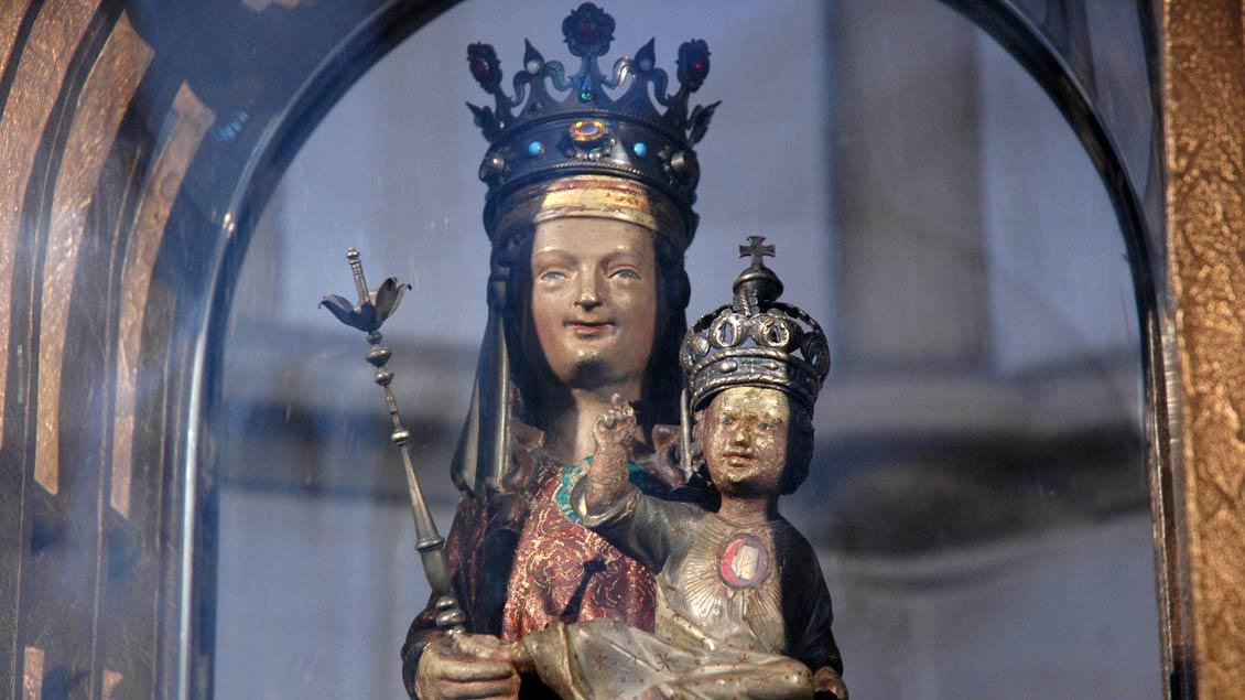 Das Marien-Gnadenbild von 1335 aus der St. Marien-Kirche in Lünen.