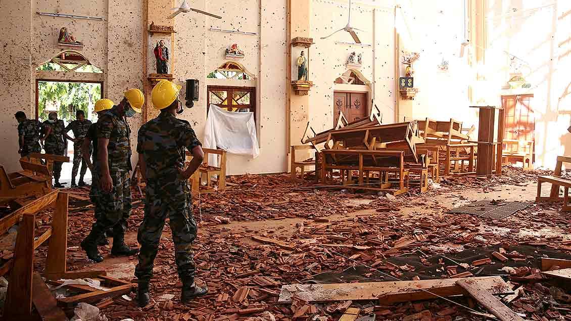 In der St. Sebastian Church in Negombo sind die Folgen des Anschlags zu sehen.