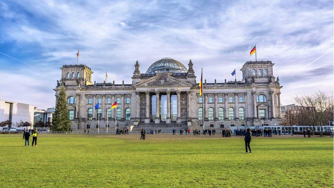 Der Deutsche Bundestag hinter einer grünen Wiese