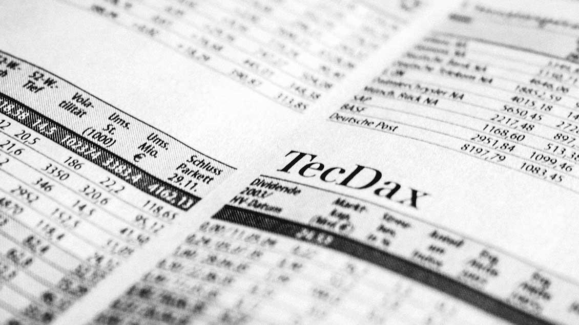 Zeitungsseite mit Börsenkursen