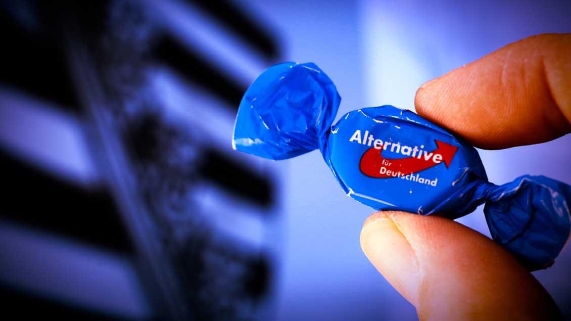 Ein Bonbon mit AfD-Aufdruck