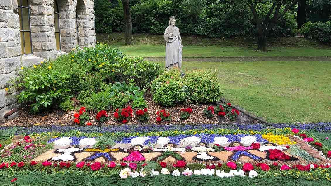 Frauen aus Ibbenbüren legten diesen Blumenteppich an der St.-Barbara-Kirche. | Foto: Johannes Bernard.