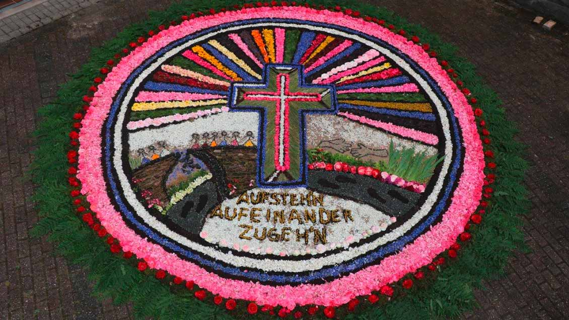 Dieser Blumenteppich lag vor der St. Barbara Kirche auf dem Dickenberg-Ibbenbüren. Der Durchmesser beträgt etwa fünf Meter. Mehr als 20 Personen haben daran mitgewirkt. | Foto: Monika Meyer Sunder