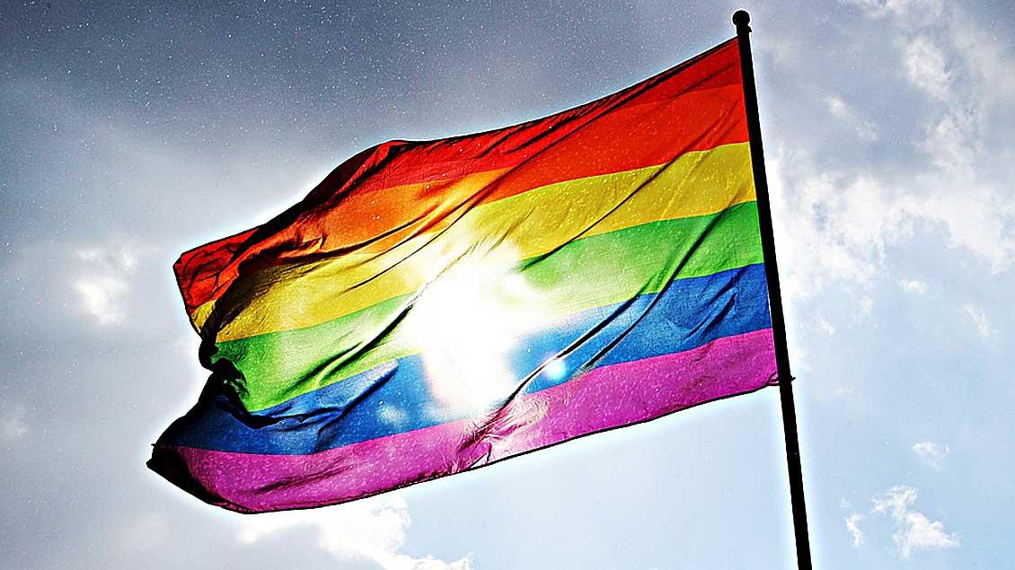 Regenbogenflagge im Gegenlicht.