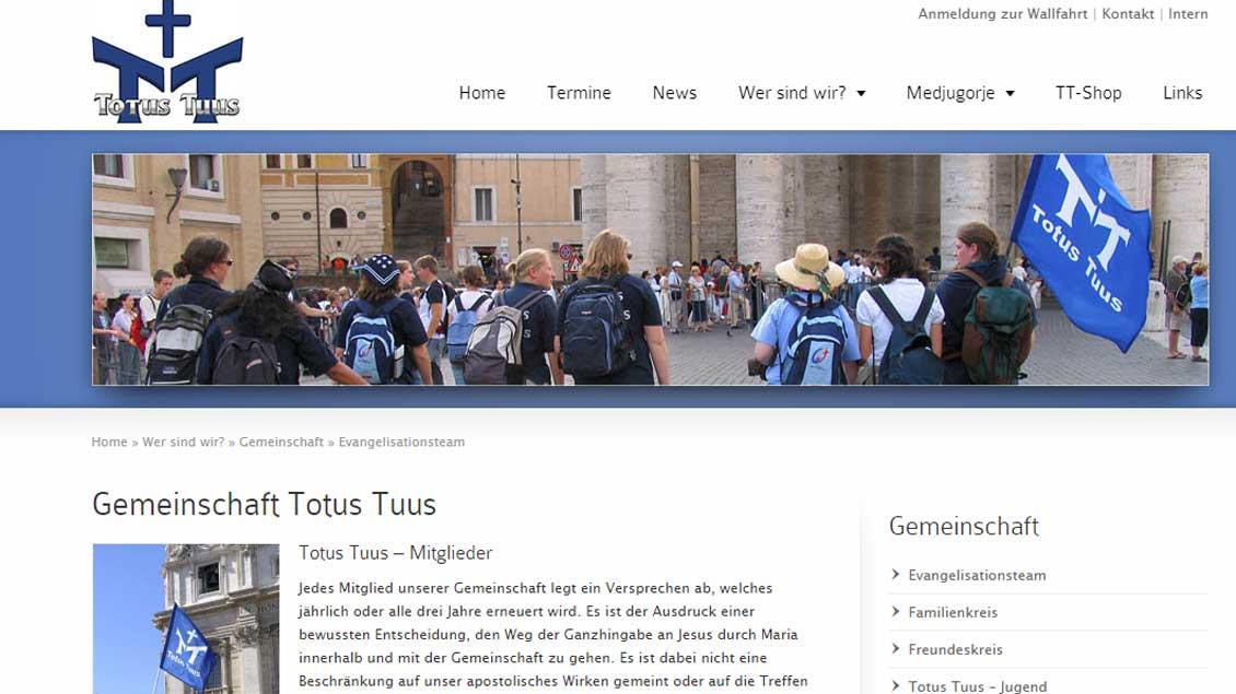 Die Internstseite von Totus Tuus Foto: Screenshot