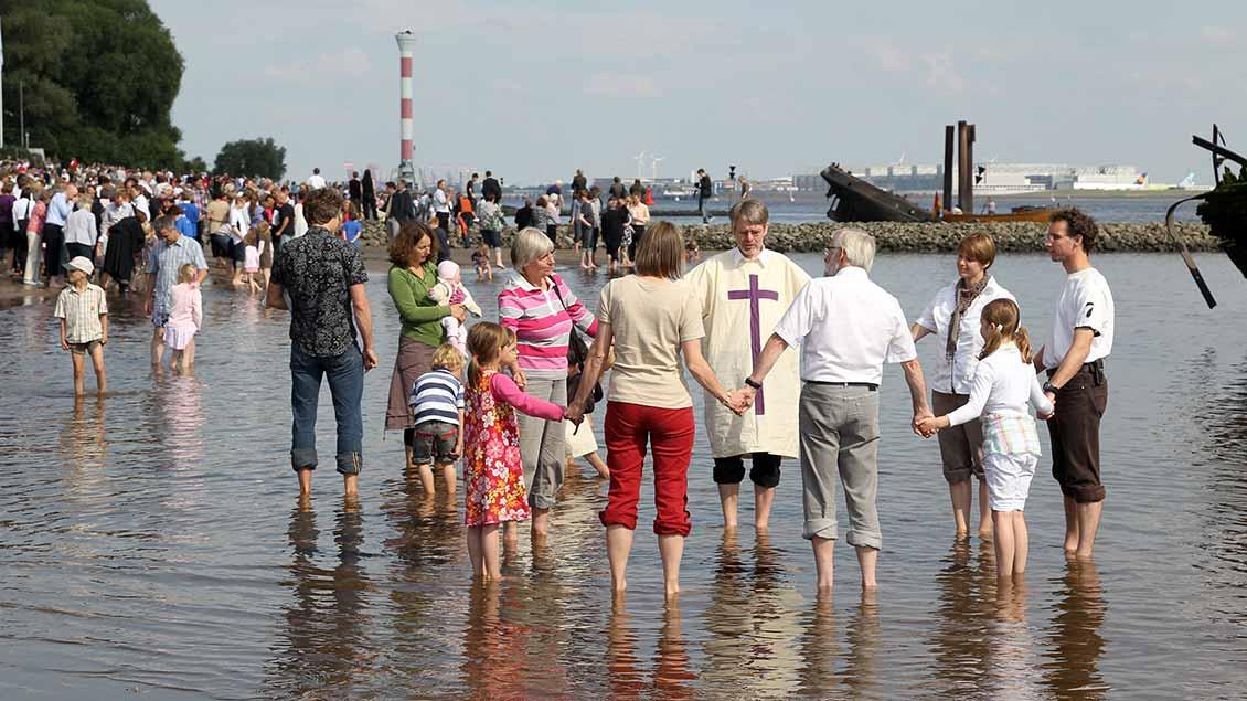 Eine Gruppe Menschen steht im Kreis im Wasser der Elbe und hält sich an den Händen.