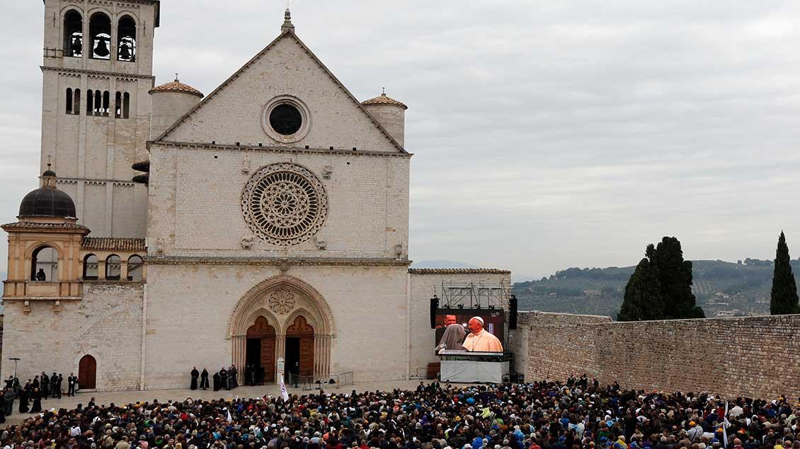 Assisi beim Besuch von Papst Franziskus 2013