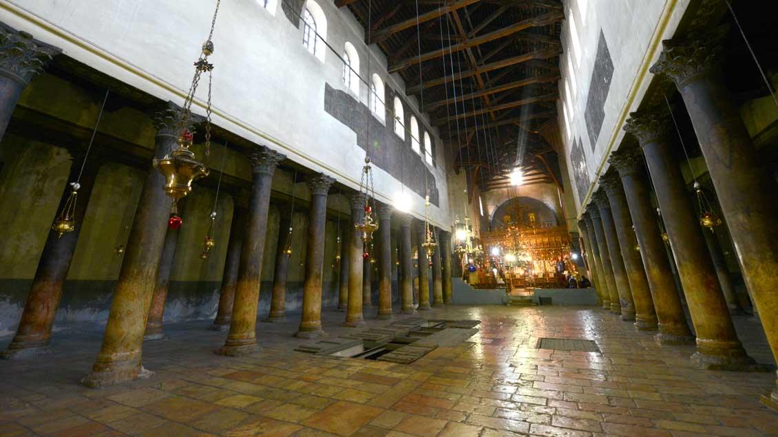 Blick in die Geburtskirche in Bethlehem