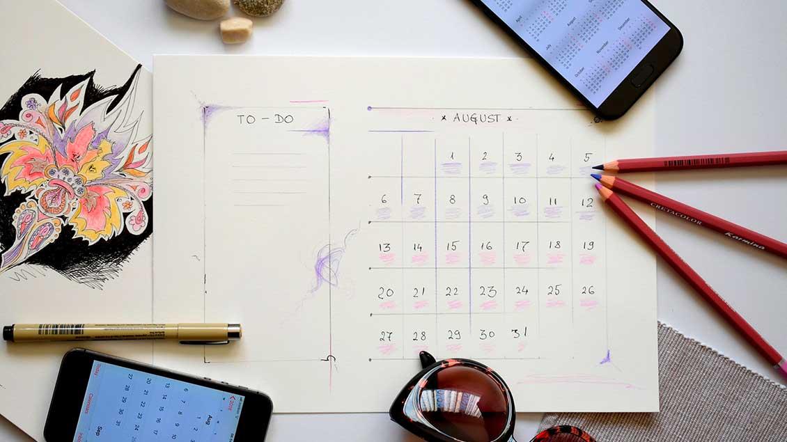 Terminplaner, Stifte, Handy