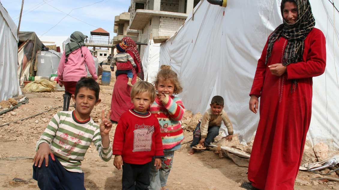 Syrische Flüchtlinge in einem Lager