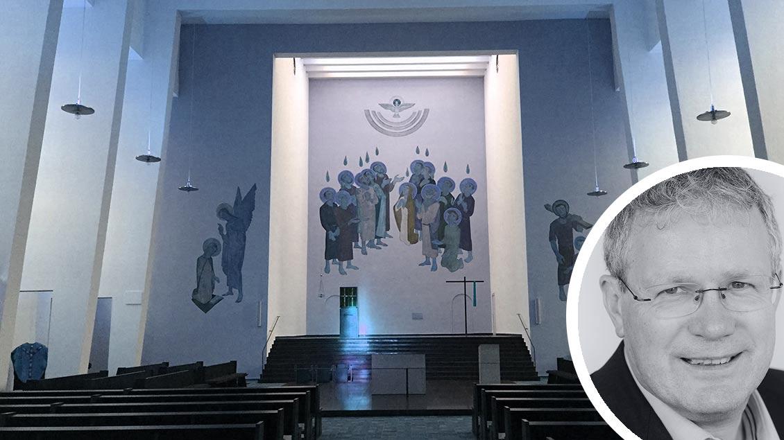 Heilig-Geist-Kirche in Münster und Chefredakteur Christof Haverkamp