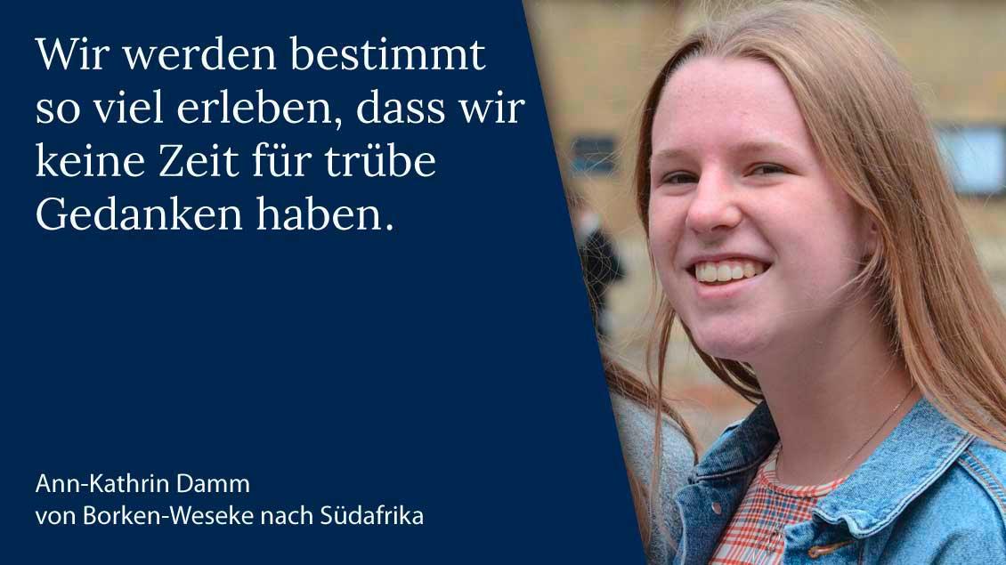 Ann-Kathrin Damm aus Weseke macht ihren Freiwilligendienst über das Bistum Münster in Südafrika. | Foto: Gudrun Niewöhner (pbm)