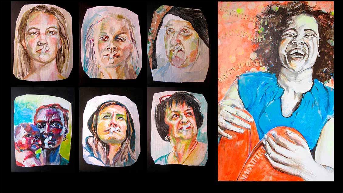 Sieben Gemälde von Menschen. Sechs von ihnen haben ihre Münder zugeklebt, eine Frau lacht