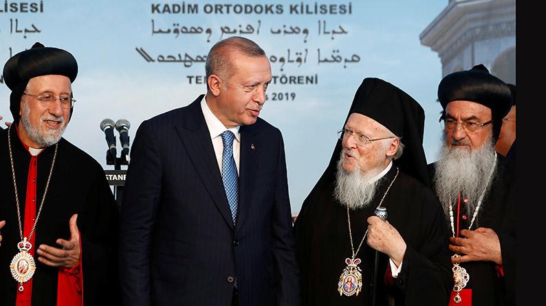 Der türkische Präsident Erdogan und der orthodoxe Patriarch Bartholomaios I.