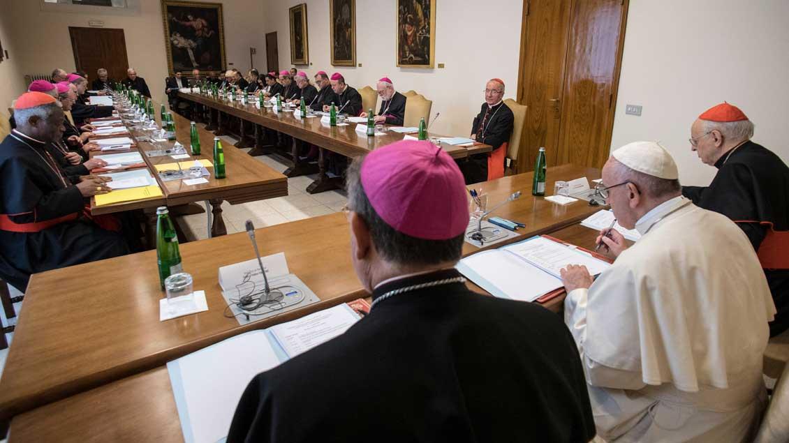 (Erz-)Bischöfe, Kardinäle und der Papst beim Vorbereitungstreffen zur Amazonas-Synode im April 2018.